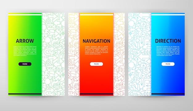 Arrow brochura web design. ilustração em vetor de modelo de contorno.