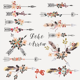 Arrows with flowers collection