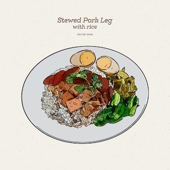 Arroz de perna de porco estufado com ovo em molho doce marrom, esboço de sorteio de mão.