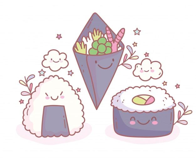 Arroz de sushi e salada de temaki comida cartoon bonito