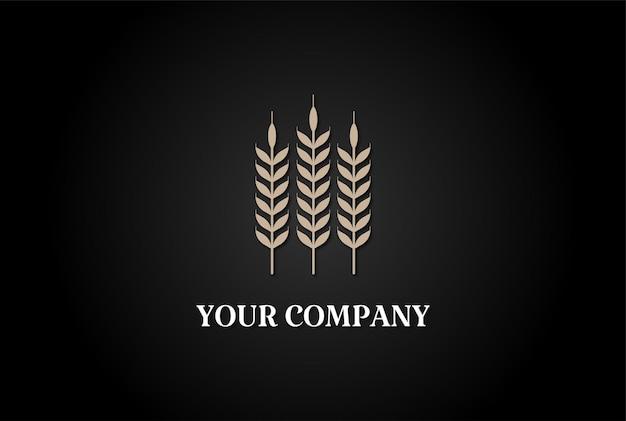 Arroz de trigo de grão dourado minimalista simples para cervejaria ou padaria logo design vector
