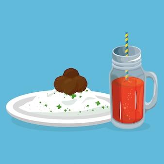 Arroz e carne com suco de comida deliciosa café da manhã