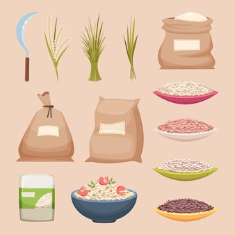 Arroz em grão. armazenamento de sacos de produtos de arroz granulado ilustrações vetoriais de alimentos agrícolas em estilo cartoon. produto de arroz, grão de armazenamento de alimentos em saco de estopa