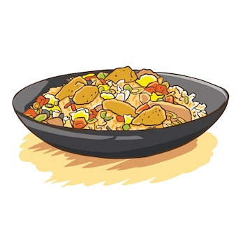Arroz frito frango vetor de desenhos animados