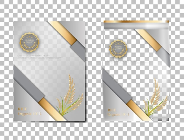 Arroz pacote de produtos alimentares de tailândia, bandeira de ouro branco e arroz de desenho de vetor de modelo de cartaz.