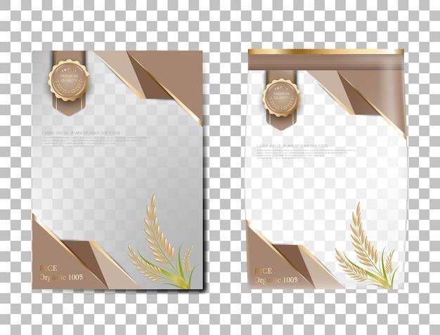 Arroz pacote de produtos alimentares de tailândia, bandeira de ouro marrom e arroz de desenho de vetor de modelo de cartaz.