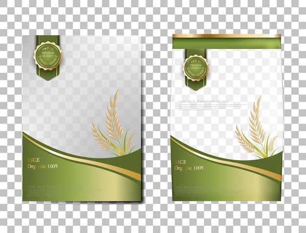 Arroz pacote de produtos alimentares de tailândia, bandeira de ouro verde e arroz de desenho de vetor de modelo de cartaz.