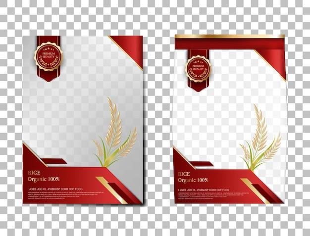 Arroz pacote de produtos alimentares de tailândia, bandeira de ouro vermelho e arroz de desenho de vetor de modelo de cartaz.