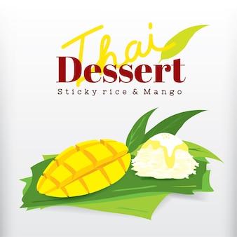 Arroz pegajoso e manga sobremesa tailandesa