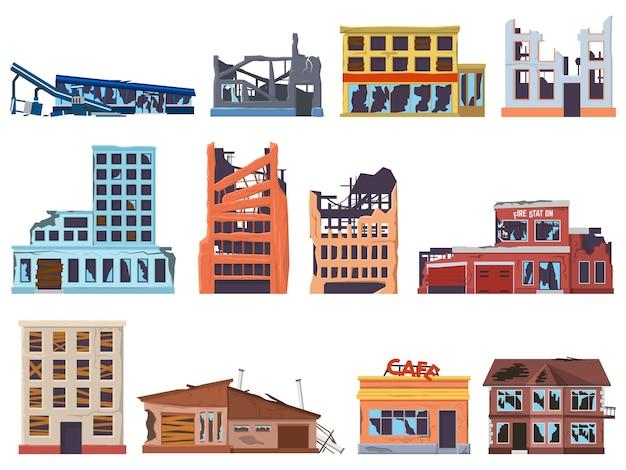 Arruinado, quebrado, abandonado, danificado, edifícios antigos de arquitetura. destruição, queimadas, paredes de fachada destruídas, janelas quebradas conjunto de ilustração vetorial