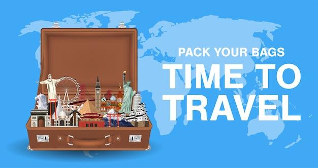 Arrumar suas malas tempo para viajar com o marco mundial