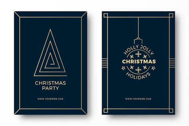 Art deco christmas party cartões