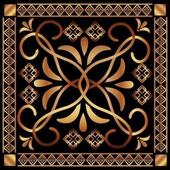 Art deco floral vintage ornamento clássico motivo