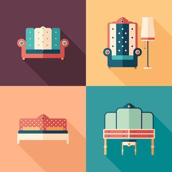 Art deco móveis ícones quadrados planas com longas sombras.