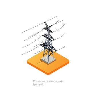 Arte 3d isométrica da torre da transmissão de energia.