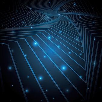 Arte abstrata de tecnologia geométrica linha estrela