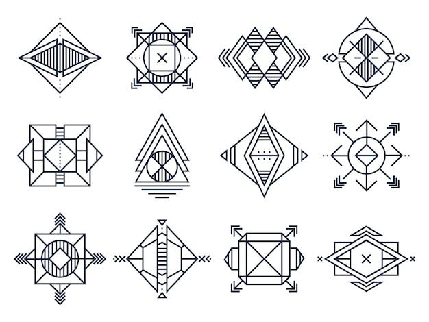 Arte abstrata de triângulos, forma geométrica de joias e estrela cósmica de linhas