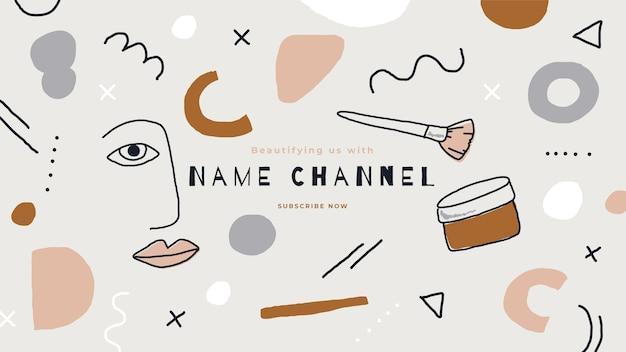 Arte abstrata do canal do youtube de beleza desenhada à mão