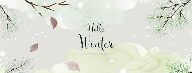 Arte abstrata em aquarela de inverno sobre fundo verde claro. ramos de pinheiro e folhas na neve caindo com aquarela pintada à mão. adequado para design de cabeçalho, banner, capa, web ou cartões.