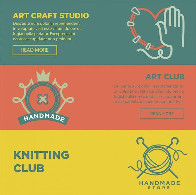 Arte artesanato e logotipos de clube artesanal cartaz de vetor colorido