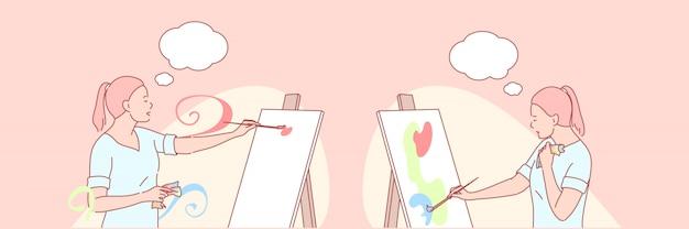 Arte, artista, pintura, ilustração criativa conjunto