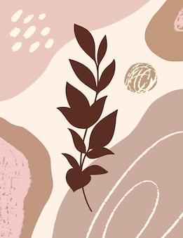 Arte botânica com ramos e folhas e formas orgânicas em estilo moderno mínimo. ilustração vetorial abstrata em cores pastel para impressão, capa, cartão, papel de parede, pôsteres, histórias de mídia social