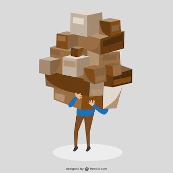 Arte caixas homem carry vetor