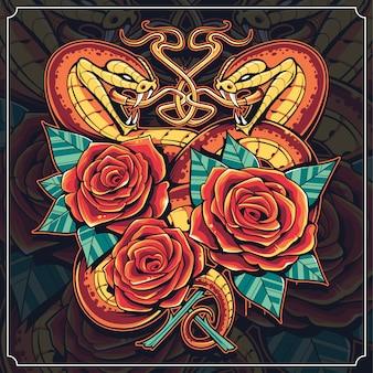 Arte cobras com rosas