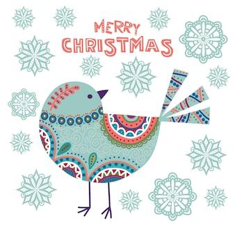 Arte colorida ilustração de natal com belo pássaro e flocos de neve.