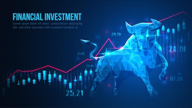 Arte conceitual da tendência de alta do mercado de ações