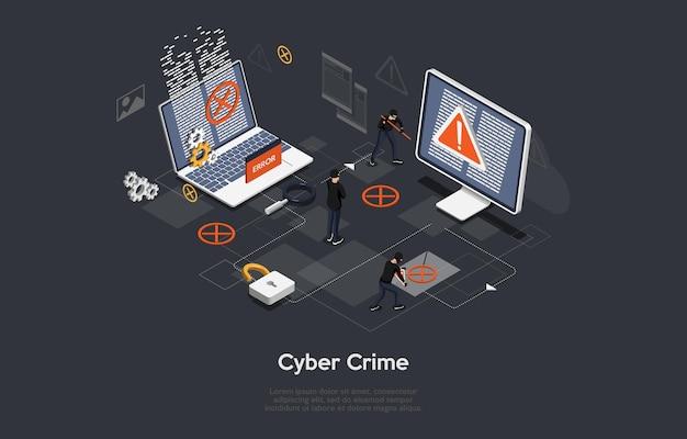 Arte conceitual do crime cibernético no escuro. ilustração em estilo cartoon 3d