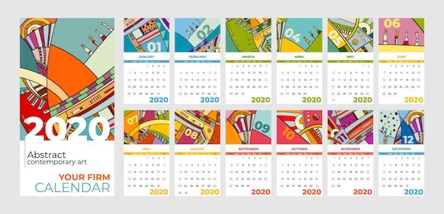 Arte contemporânea abstrata do calendário de 2020
