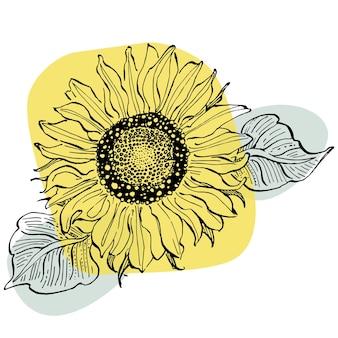Arte contemporânea floral de cartazes de girassol em cores da moda. mão abstrata desenhando flores e elementos geométricos e traços, folhas e flores.