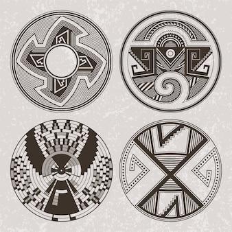 Arte da américa do norte pueblo índios tatuagem e impressão conjunto