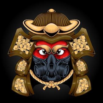Arte da cabeça do capacete de samurai com máscara de robô
