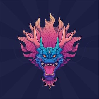 Arte da cabeça do dragão no fundo do feixe