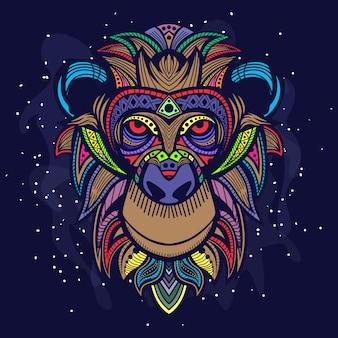 Arte da cabeça do macaco