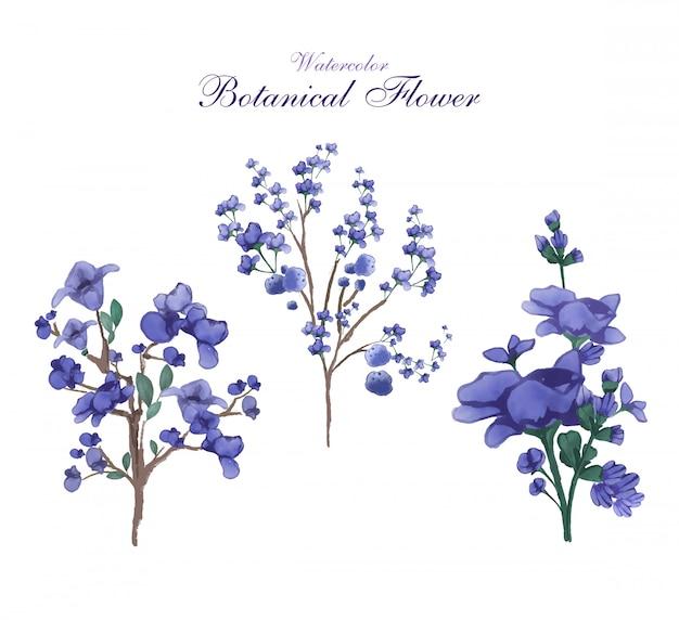 Arte da flor em imagem estilo aquarela em uma botânica flores