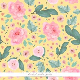 Arte da flor na imagem de papel de parede estilo aquarela em um padrão botânico sem costura
