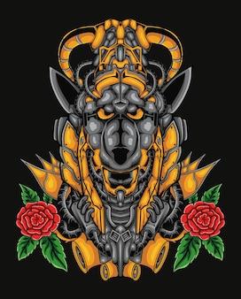 Arte da ilustração do mascote do anubis mecha com flor rosa
