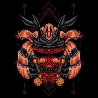 Arte da ilustração do robô samurai