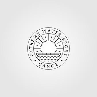 Arte da linha do logotipo da canoa minimalista com ilustração vintage sunburst