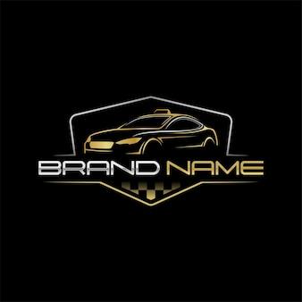 Arte da linha do logotipo de táxi de luxo com cor dourada