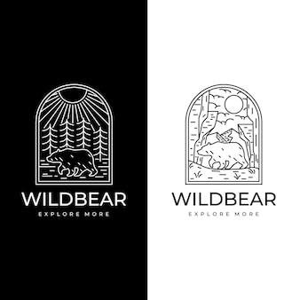 Arte da linha do logotipo do urso selvagem vintage aventura Vetor Premium