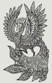 Arte da mandala dos pássaros de paraíso de phoenix do pavão