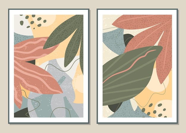 Arte da parede conjunto botânico.