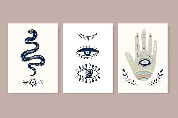 Arte da parede de cartazes minimalistas abstratos com diferentes elementos místicos. design moderno e contemporâneo, formas de doodle