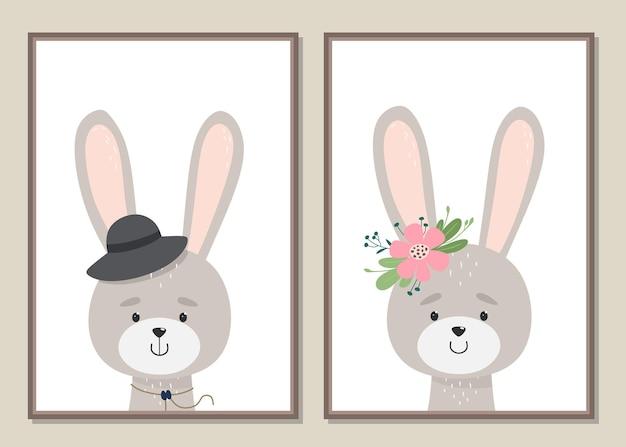 Arte da parede de coelhos bonitos desenhados à mão.