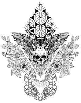 Arte da tatuagem com coruja e flor de caveira desenhando esboço preto e branco