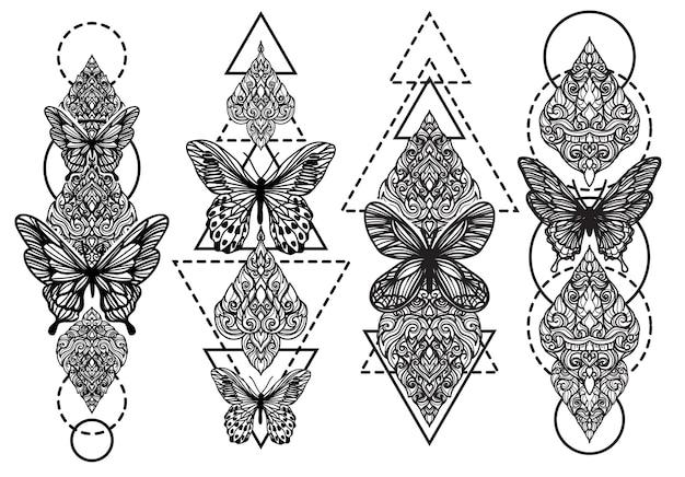 Arte da tatuagem com desenho de borboleta e flor em preto e branco